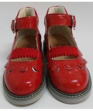 Sandalo rosso chiuso in punta da bambina DUNA