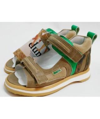 Sandalo da bambino - due velcri - beige/tela verde DUNA