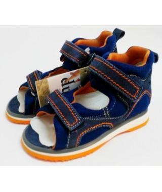 Sandalo da bambino - due velcri - blu/tela verde DUNA