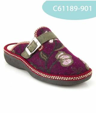 MEDDY pantofola in lana con velcro color vinaccia MOD 61189