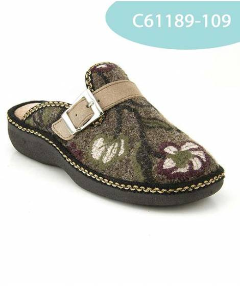 MEDDY pantofola in lana con velcro color taupe MOD 61189
