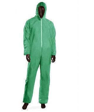 Tuta in polipropilene con cappuccio colore verde