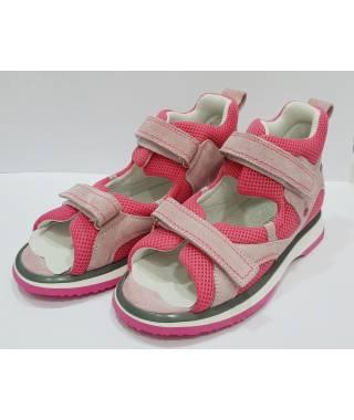DUNA Sandalo da Bambina - due velcri - Rosa/tela Fuxia