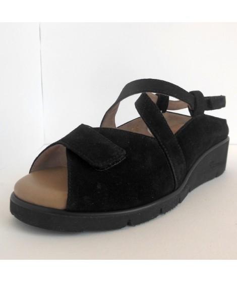 orologio 03781 ec9e0 Sandalo da donna di colore nero con plantare in memory di F.lli Tomasi