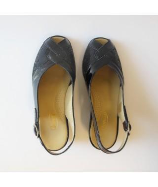 Sandalo in macramé nero con cinturino LOREN