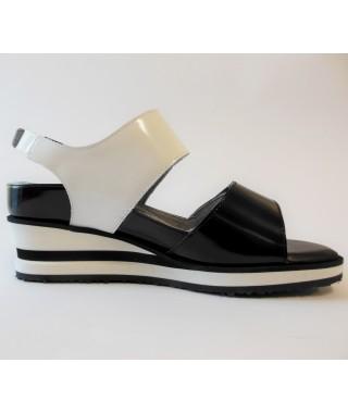 Sandalo da donna con cinturino e due velcri bianco e nero FISIODUNA